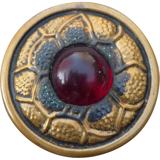 Large Vintage Brass and Red Glass Button