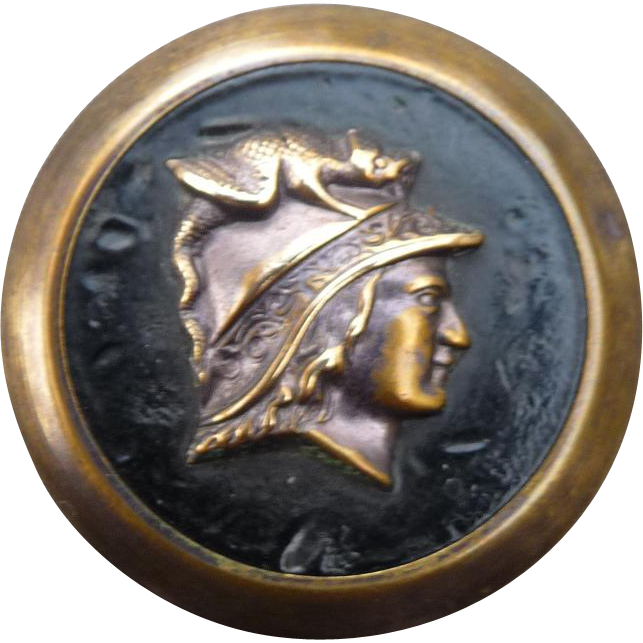 Large Vintage Mythological Brass Button