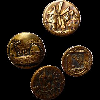 Four Vintage Seaside Scene Brass Buttons
