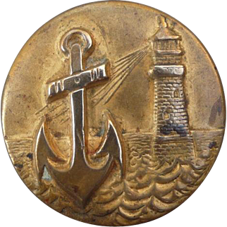 Vintage Brass Anchor and Lighthouse Button