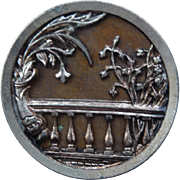 Large Vintage button of a Garden Balcony Scene