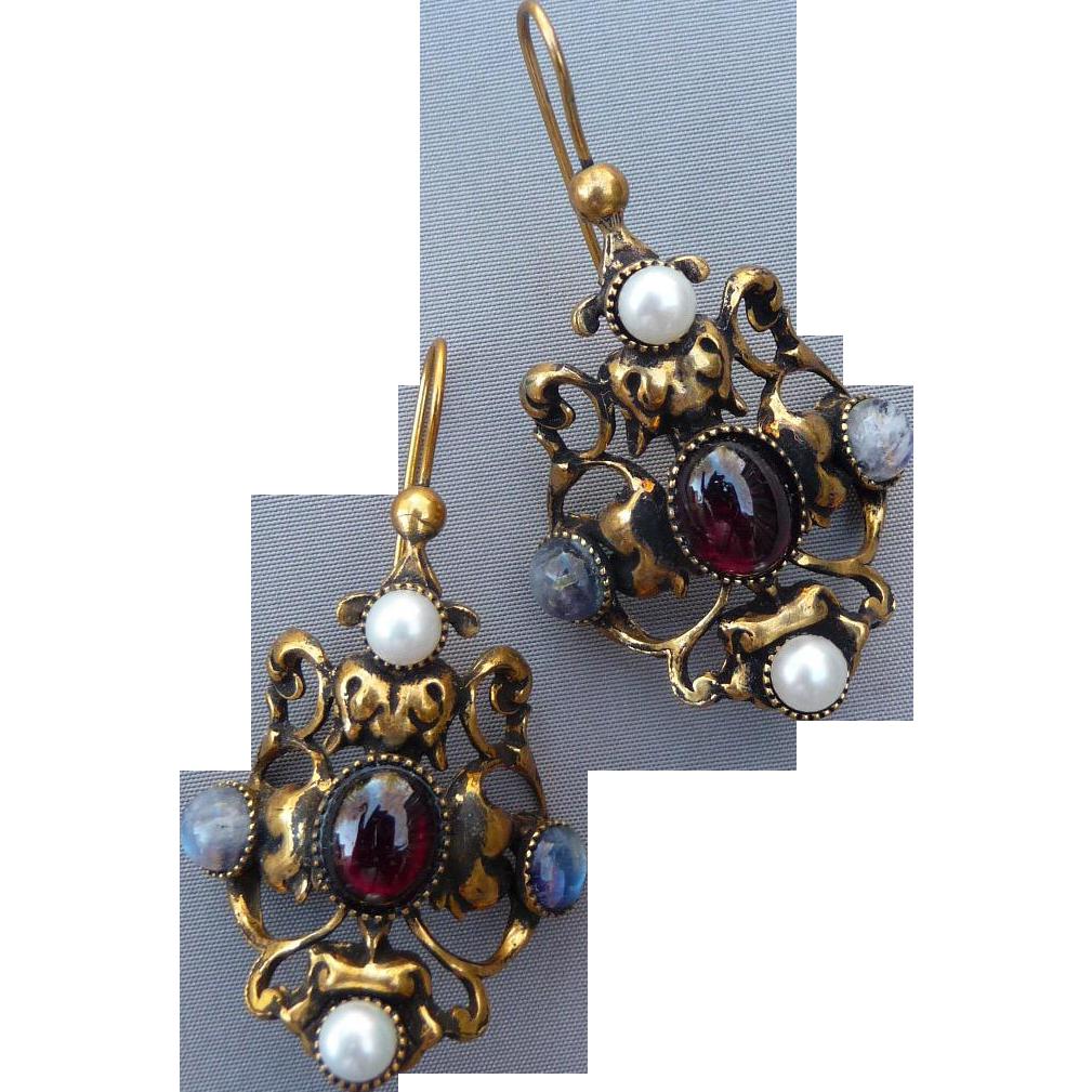 Long 1980's Museum Reproduction Italian Earrings