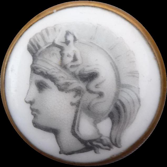 Exceptional large Vintage Porcelain Button