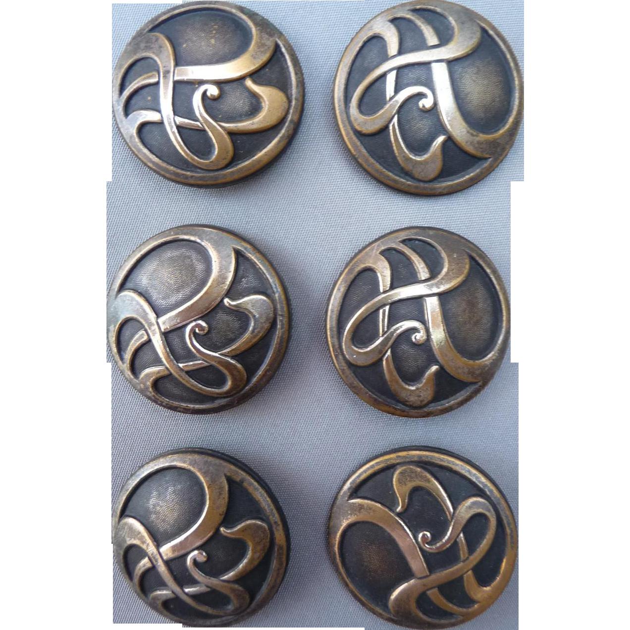 Six Vintage Art Nouveau Buttons