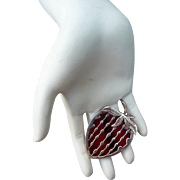 Vintage Sterling Glass Mexican Strawberry Pin