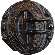 Victorian Luster Black Glass Buckle Button