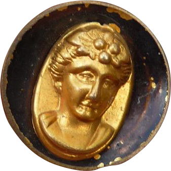 Victorian Metal Button with Lady