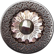 Impressive Antique Pearl and Steel Button