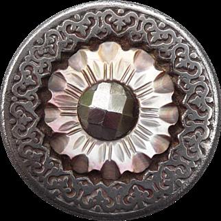 Impressive Antique Pearl and Steel Button