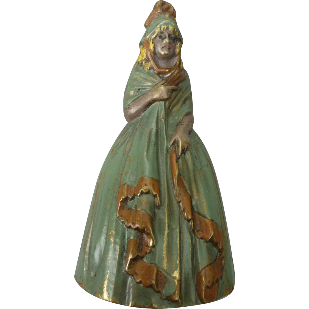 Vintage 1920's Painted Brass Bell