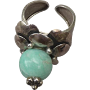Vintage 1970's Silver and Natural Agate Ring