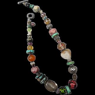 Beautiful Vintage Artisan Semi Precious Beaded Necklace