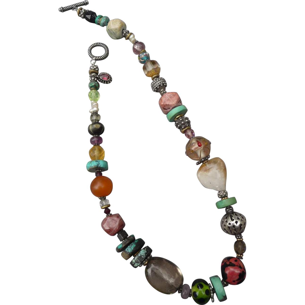 Beautiful Vintage Artisan Semi Precious Beaded Necklace