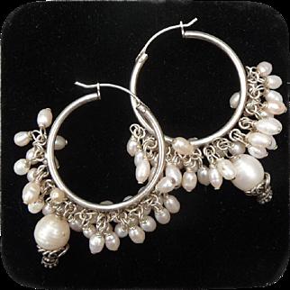 Beautiful Vintage Pearl and Silver Hoop Earrings