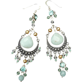 Vintage Silver and natural stone Earrings
