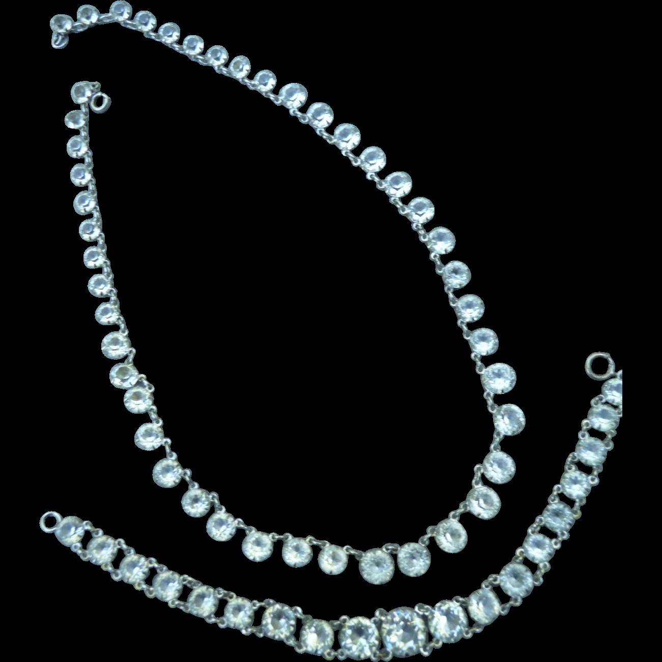 Beautiful Vintage Crystal Paste Silver Necklace and Bracelet