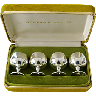 Set of 4 Gorham Sterling Silver Snifters Cordials Cups Goblets with Velvet Case