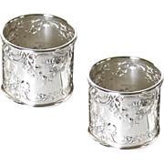 Set of 2 Gorham Sterling Silver Napkin Rings 524 Rose Scroll No Mono