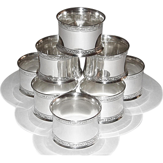 Wallace Sterling Silver Napkin Rings Holders Set of 8 Round My Love 7413