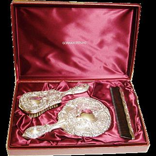 Gorham Sterling Silver Vanity Dresser Set Mirror Brush Comb Buttercup 23 Original Case