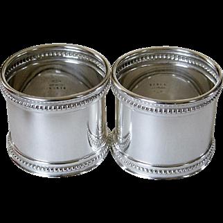 Antique Gorham Sterling Silver Napkin Rings Set of 2 B3818