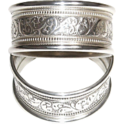 Alvin Sterling Silver Napkin Rings S17-1 Set of 2 Round