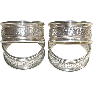 Alvin Sterling Silver Napkin Rings S17-1 Set of 4 Round