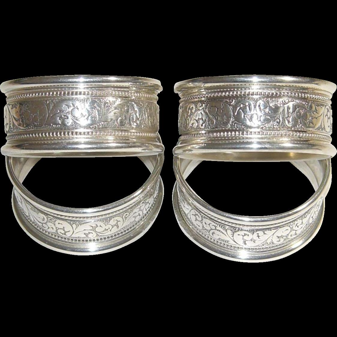 alvin sterling silver napkin rings s17 1 set of 4