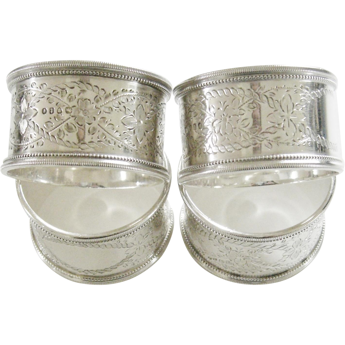 antique sterling silver napkin rings set of 4