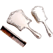 Gorham Sterling Silver Vanity Dresser Set 3pc Mirror Brush Comb Melrose 27