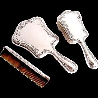 Gorham Sterling Silver Vanity Dresser Set 3pc Mirror Brush Comb Melrose 27