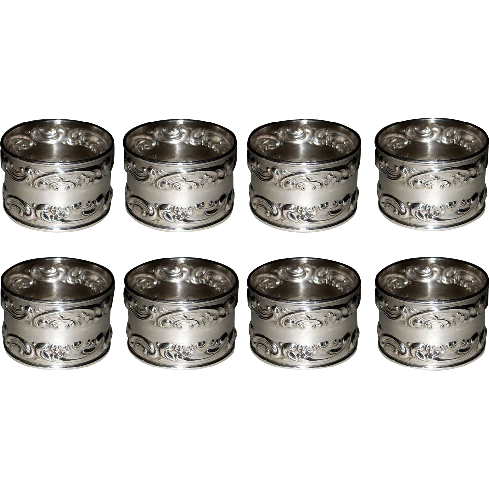Gorham Melrose Sterling Silver Napkin Rings 1232 Set of 8 Rose Scroll