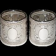 Antique Gorham Sterling Silver 1888 Napkin Rings Set of 2 Art Nouveau pattern 1925 Rare Mint