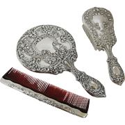 Gorham Sterling Silver Vanity Dresser Set Mirror Brush Comb Buttercup 23