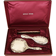Gorham Sterling Silver Vanity Dresser Set Case Mirror Brush Comb Dresden Rose 26