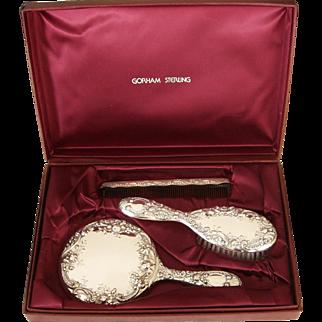 Gorham Sterling Silver Vanity Dresser Set Case Mirror Brush Comb Dresden Rose 26