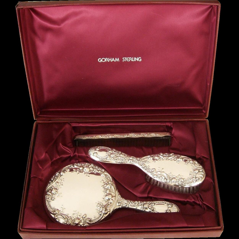 Gorham Sterling Silver Vanity Dresser Set Case Mirror