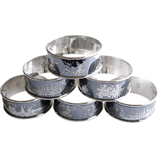 Sterling Silver Napkin Rings Siam Niello Set of 6