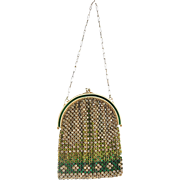 French Rhinestone Purse with Green Rhinestones