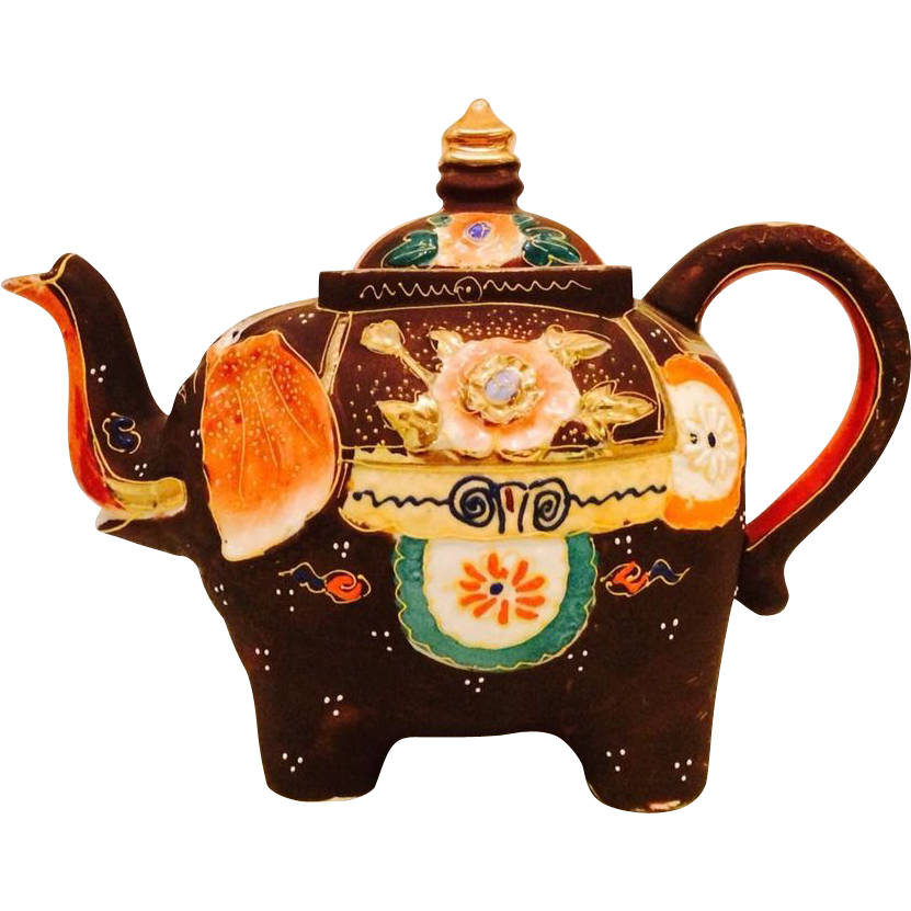 Vintage hand painted figural elephant teapot with moriage accents sold on ruby lane - Elephant shaped teapot ...