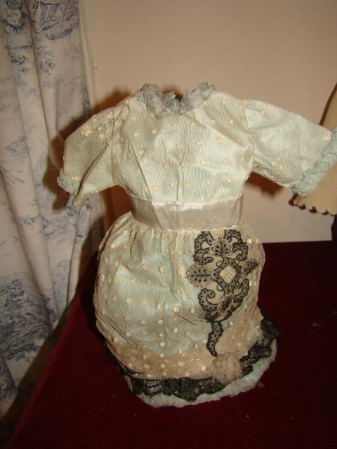 Lovely green silk and lacedress for doll