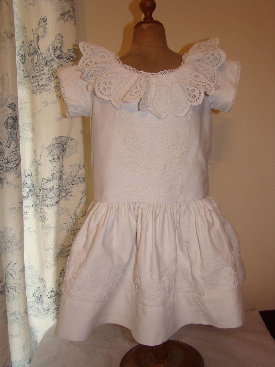 Beautiful 1875 pique dress with soutache trim for a large doll