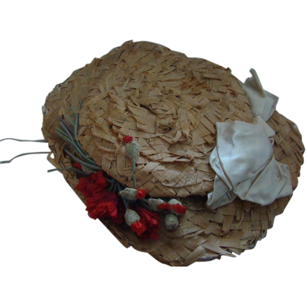 Antique big straw hat for doll