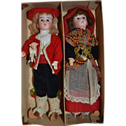 Rare couple of french dolls in original costume from BEARN