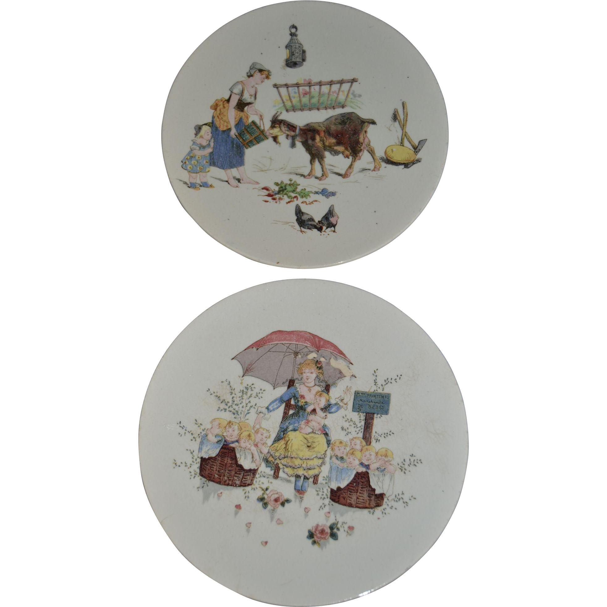 Wonderful pair of Sarreguemines Plates with  colored scenes transferware