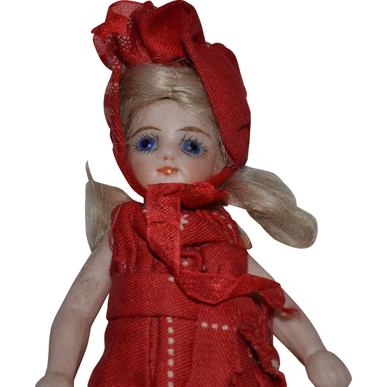 Pretty French mignonette with original costume,all bisque doll.