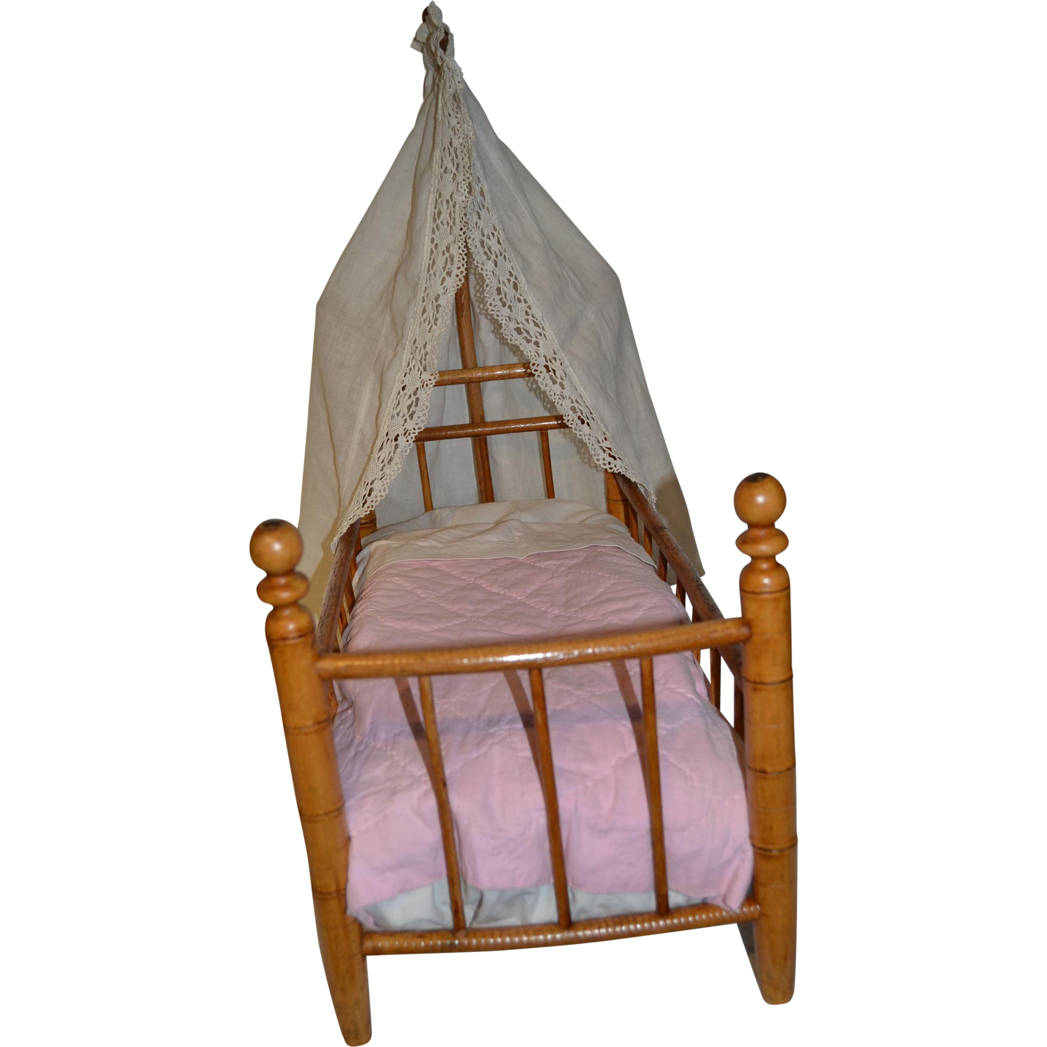 Gorgeous wooden antique faux bamboo doll's bed
