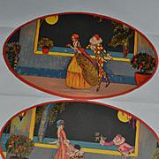 2 Oval cardboards ornamental art deco