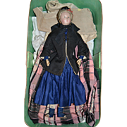 French Paper-mache Lady doll in original wood box and original costume