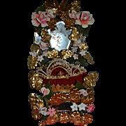 19th Wedding cushion with bride's wax crown
